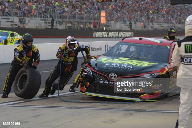 Erik Jones Furniture Row Racing 5Hour Energy Extra Strength Toyota Camry during a pit stop in the NASCAR Monster Energy Cup Series Bass Pro Shops NRA...