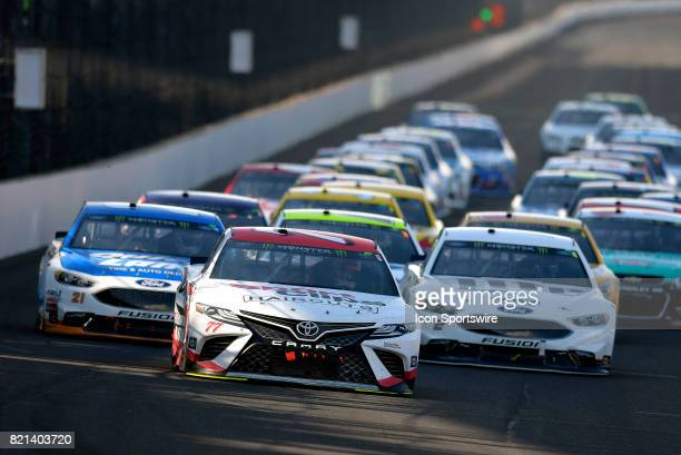 Erik Jones Furniture Row Racing Toyota Camry leads the field to a restart during the NASCAR Monster Energy Cup Series Brantley Gilbert Big Machine...