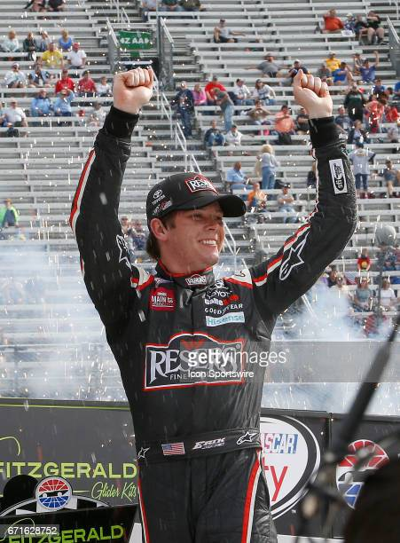 Erik Jones Reser's American Classic Toyota Camry celebrates winning the Fitzgerald Glider Kits 300 NASCAR Xfinity Series race on April 22 2017 at...