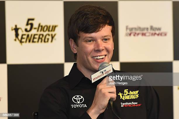 Erik Jones speaks to the media after announcing he will drive the 5 hour Energy Toyota for Furniture Row Racing in 2017 prior to the NASCAR Sprint...