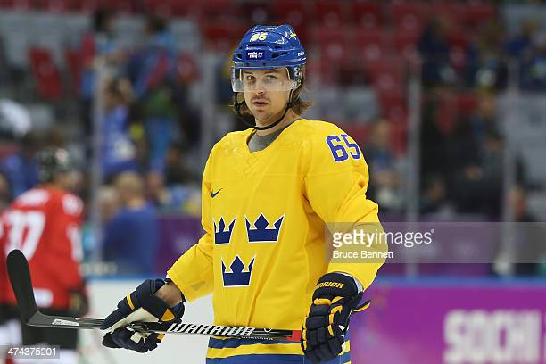 Erik Karlsson of Sweden Warms up prior to the Men's Ice Hockey Gold Medal match against Canada on Day 16 of the 2014 Sochi Winter Olympics at Bolshoy...