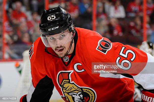 Erik Karlsson of the Ottawa Senators looks on prior to a faceoff during the NHL game against the Montreal Canadiens at Canadian Tire Centre on...