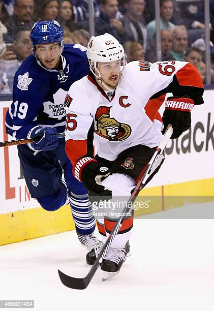 Erik Karlsson of the Ottawa Senators plays in the game against the Toronto Maple Leafs at the Air Canada Center on October 10 2015 in Toronto Ontario...