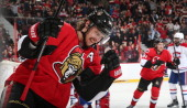 Erik Karlsson of the Ottawa Senators pumps his fist to celebrate his first period goal against the Montreal Canadiens at Canadian Tire Centre on...