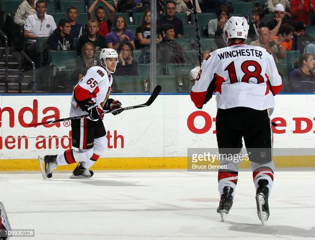 Erik Karlsson of the Ottawa Senators scores the game winning goal on the power play at 1450 of the third period at the BankAtlantic Center on March...