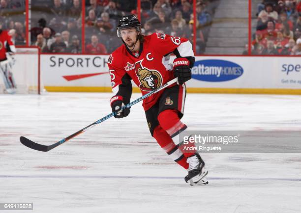 Erik Karlsson of the Ottawa Senators skates against the Columbus Blue Jackets at Canadian Tire Centre on March 4 2017 in Ottawa Ontario Canada