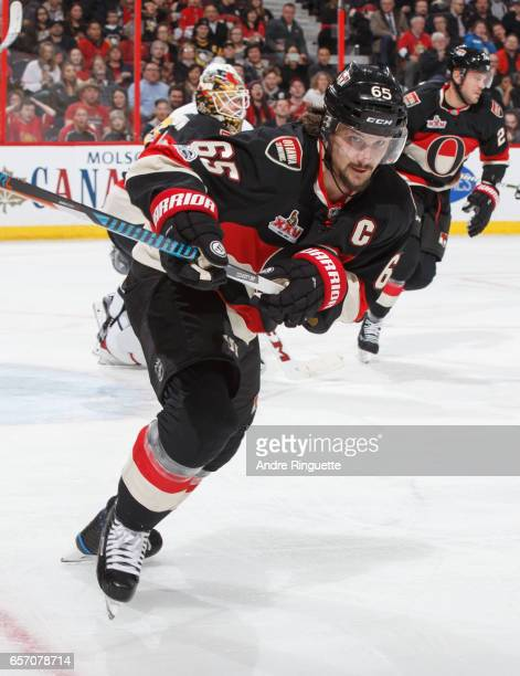 Erik Karlsson of the Ottawa Senators skates against the Pittsburgh Penguins at Canadian Tire Centre on March 23 2017 in Ottawa Ontario Canada