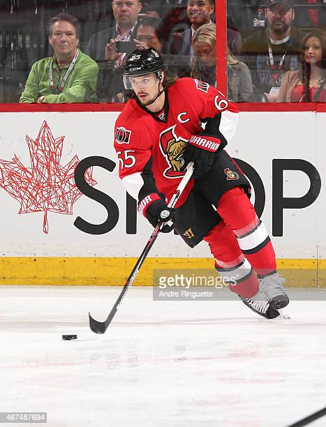 Erik Karlsson of the Ottawa Senators skates against the Toronto Maple Leafs at Canadian Tire Centre on March 21 2015 in Ottawa Ontario Canada