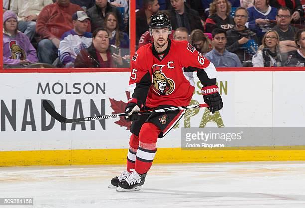 Erik Karlsson of the Ottawa Senators skates against the Toronto Maple Leafs at Canadian Tire Centre on February 6 2016 in Ottawa Ontario Canada