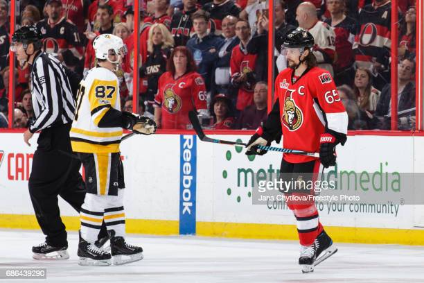 Erik Karlsson of the Ottawa Senators skates past Sidney Crosby of the Pittsburgh Penguins in Game Four of the Eastern Conference Final during the...