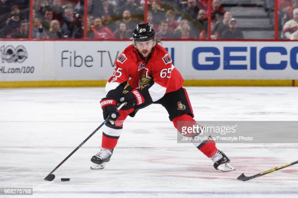 Erik Karlsson of the Ottawa Senators skates with the puck against the Boston Bruins in Game One of the Eastern Conference First Round during the 2017...
