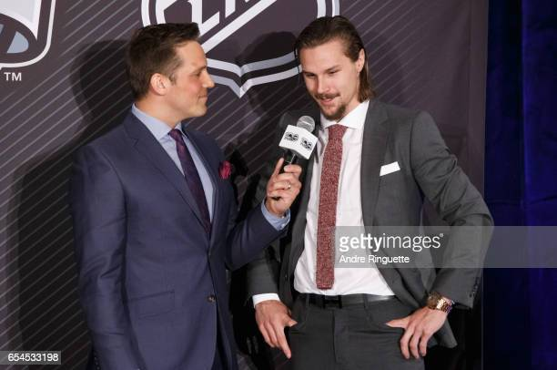 Erik Karlsson of the Ottawa Senators speaks with media personality Louis Jean during the 2017 Scotiabank NHL 100 Classic announcement at the Chateau...