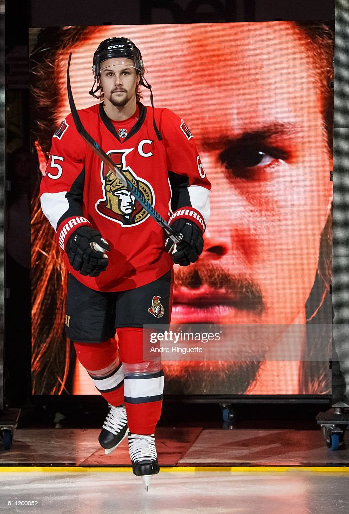 Erik Karlsson #65 of the Ottawa Senators steps onto the ice during player introductions prior to a game against the Toronto Maple Leafs at Canadian Tire Centre during the season opener on October 12, 2016 in Ottawa, Ontario, Canada.