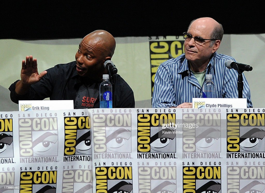 Erik King and Clyde Phillips speak onstage at Showtime's 'Dexter' panel during Comic-Con International 2013 at San Diego Convention Center on July 18, 2013 in San Diego, California.