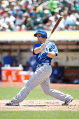 Erik Kratz of the Kansas City Royals bats during the game against the Oakland Athletics at Oco Coliseum on August 2 2014 in Oakland California The...
