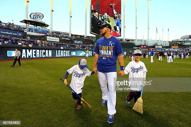 Erik Kratz of the Kansas City Royals celebrates after their 2 to 1 win over the Baltimore Orioles to sweep the series in Game Four of the American...