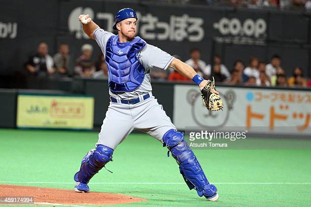 Erik Kratz of the Kansas City Royals in action in the nineth inning during the game five of Samurai Japan and MLB All Stars at Sapporo Dome on...