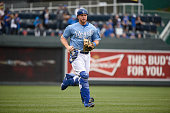 Erik Kratz of the Kansas City Royals runs to the dugout form the bullpen during a game against the Chicago White Sox on April 9 2015 at Kauffman...