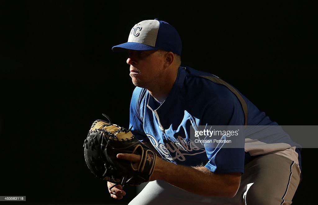 Erik Kratz of the Kansas City Royals warms up before the MLB game against the Arizona Diamondbacks at Chase Field on August 5 2014 in Phoenix Arizona...