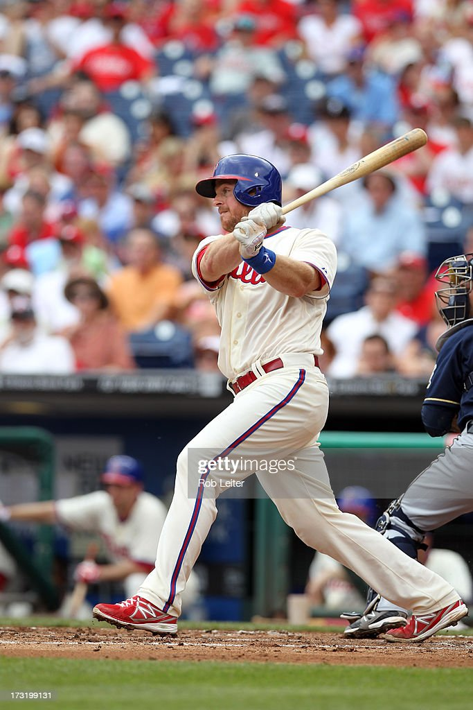 Erik Kratz #31 of the Philadelphia Phillies bats during the game against the Milwaukee Brewers at Citizens Bank Park on June 2, 2013 in Philadelphia, Pennsyvania. The Phillies defeated the Brewers 7-5.