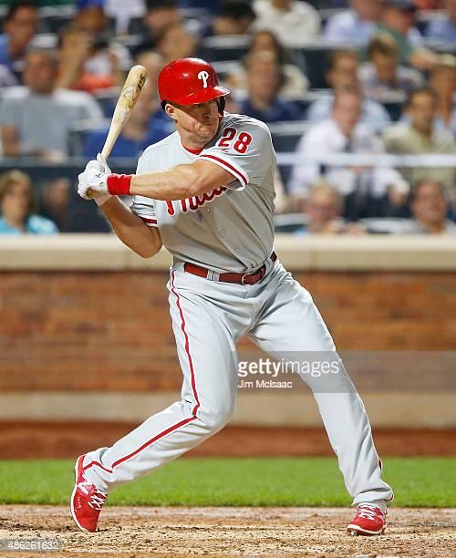 Erik Kratz of the Philadelphia Phillies in action against the New York Mets at Citi Field on September 2 2015 in the Flushing neighborhood of the...
