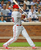 Erik Kratz of the Philadelphia Phillies in action against the New York Mets at Citi Field on September 2 2015 in the Flushing neighborhood of the...