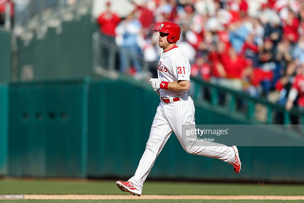 Erik Kratz #31 of the Philadelphia Phillies runs the bases after hitting a home run in the second inning against the Kansas City Royals during the home opener at Citizens Bank Park on April 5, 2013 in Philadelphia, Pennsylvania.