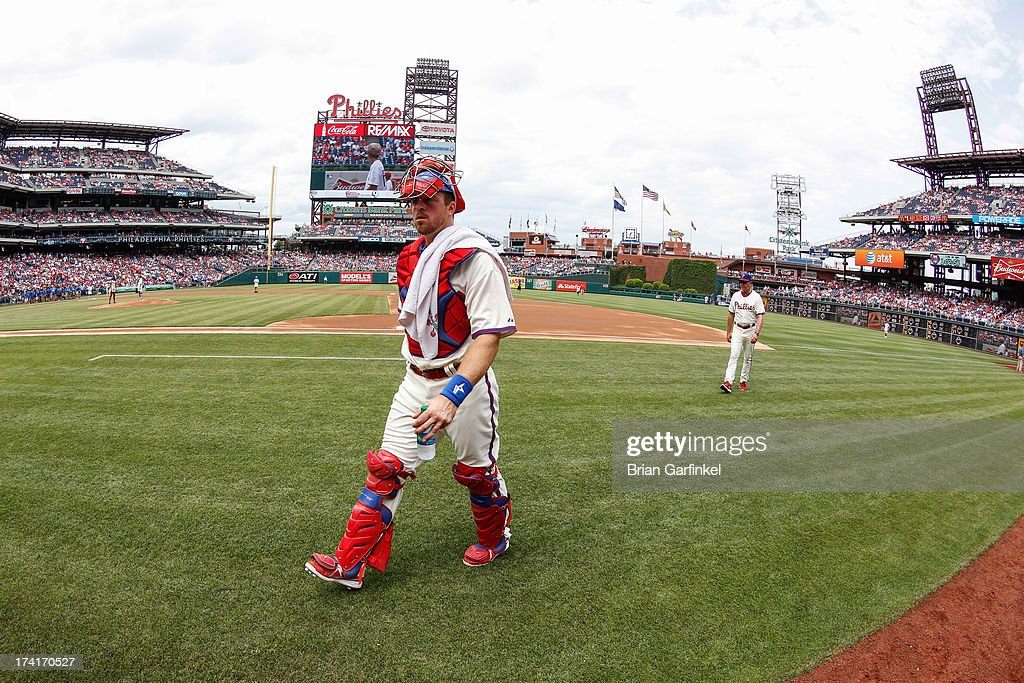 Erik Kratz #31 of the Philadelphia Phillies walks to the dugout before the game against the Milwaukee Brewers at Citizens Bank Park on June 2, 2013 in Philadelphia, Pennsylvania. The Phillies won 7-5.