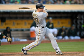 Erik Kratz of the Pittsburgh Pirates bats against the Oakland Athletics in the top of the fourth inning at Oco Coliseum on July 2 2016 in Oakland...