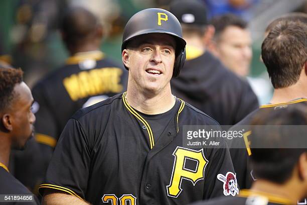 Erik Kratz of the Pittsburgh Pirates celebrates after hitting a home run in the fifth inning during the game against the San Francisco Giants at PNC...
