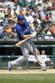 Erik Kratz of the Toronto Blue Jays bats against the Detroit Tigers at Comerica Park on June 5 2014 in Detroit Michigan