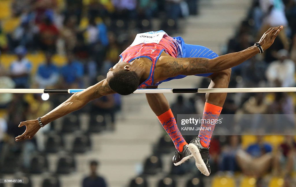 Erik Kynard of the United States competes in the men's high jump final at the Diamond League athletics competition at the Suhaim bin Hamad Stadium in Doha, on May 6, 2016. / AFP / KARIM