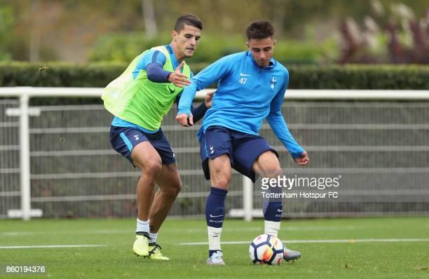 Erik Lamela and Anthony Georgiou of Tottenham during the Tottenham Hotspur training session at Tottenham Hotspur Training Centre on October 11 2017...