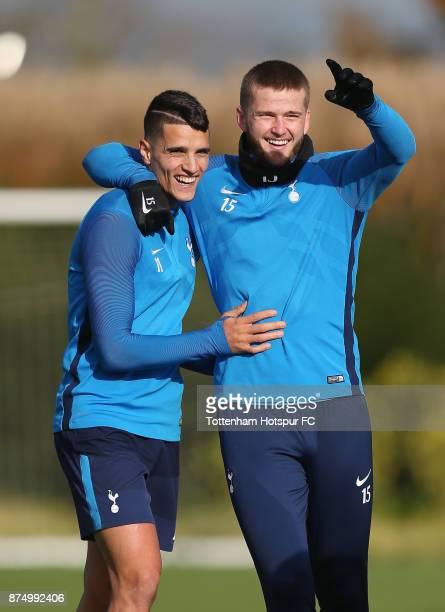 Erik Lamela and Eric Dier of Tottenham during the Tottenham Hotspur training session at Tottenham Hotspur Training Centre on November 16 2017 in...