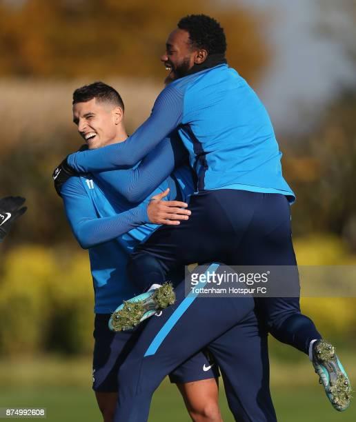 Erik Lamela and GeorgesKevin Nkoudou of Tottenham during the Tottenham Hotspur training session at Tottenham Hotspur Training Centre on November 16...