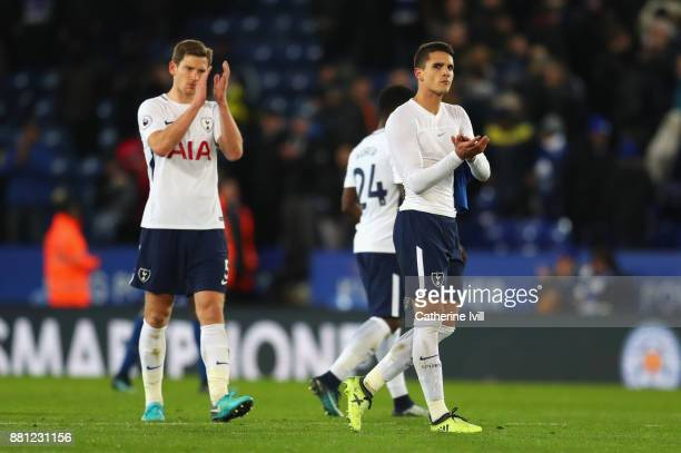 Erik Lamela and Jan Vertonghen of Tottenham Hotspur appuald the travelling fans after the Premier League match between Leicester City and Tottenham...