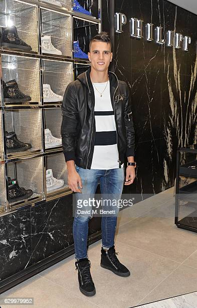 Erik Lamela attends a cocktail party hosted by Philipp Plein to celebrate the opening of the Philipp Plein London boutique on December 15 2016 in...