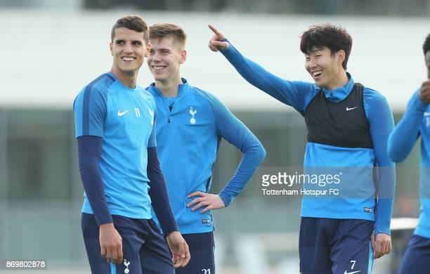 Erik Lamela Juan Foyth and HeungMin Son of Tottenham during the Tottenham Hotspur training session at Tottenham Hotspur Training Centre on November 3...