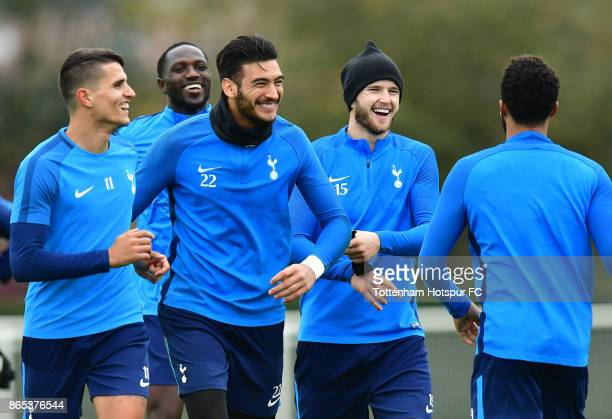 Erik Lamela Moussa Sissoko Paulo Gazzaniga and Eric Dier during the Tottenham Hotspur training session at Tottenham Hotspur Training Centre on...