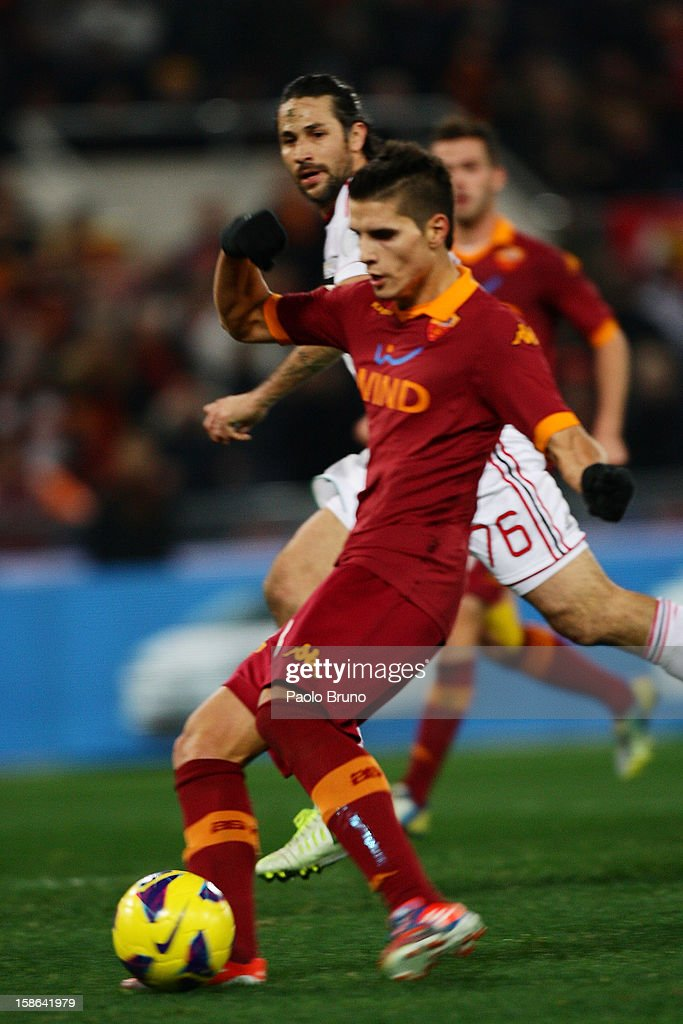 Erik Lamela of AS Roma scores the third team's goal during the Serie A match between AS Roma and AC Milan at Stadio Olimpico on December 22, 2012 in Rome, Italy.