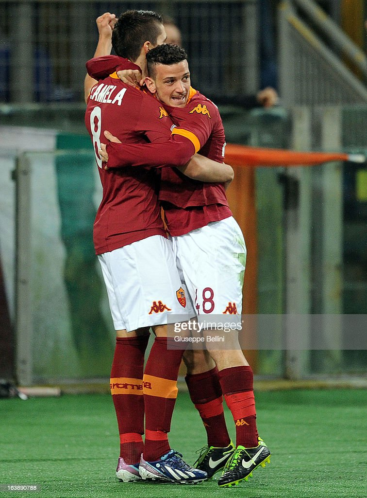 Erik Lamela of Roma celebrates after scoring the opening goal during the Serie A match between AS Roma and Parma FC at Stadio Olimpico on March 17, 2013 in Rome, Italy.