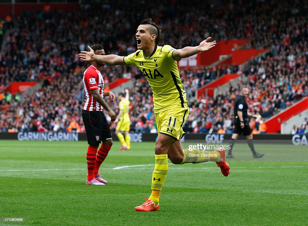 <a gi-track='captionPersonalityLinkClicked' href=/galleries/search?phrase=Erik+Lamela&family=editorial&specificpeople=7198648 ng-click='$event.stopPropagation()'>Erik Lamela</a> of Spurs celebrates scoring their first goal uring the Barclays Premier League match between Southampton and Tottenham Hotspur at St Mary's Stadium on April 25, 2015 in Southampton, England.