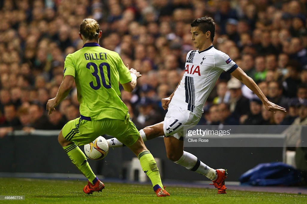 <a gi-track='captionPersonalityLinkClicked' href=/galleries/search?phrase=Erik+Lamela&family=editorial&specificpeople=7198648 ng-click='$event.stopPropagation()'>Erik Lamela</a> of Spurs is challenged by <a gi-track='captionPersonalityLinkClicked' href=/galleries/search?phrase=Guillaume+Gillet&family=editorial&specificpeople=4542498 ng-click='$event.stopPropagation()'>Guillaume Gillet</a> of Anderlecht during the UEFA Europa League Group J match between Tottenham Hotspur FC and RSC Anderlecht at White Hart Lane on November 5, 2015 in London, United Kingdom.