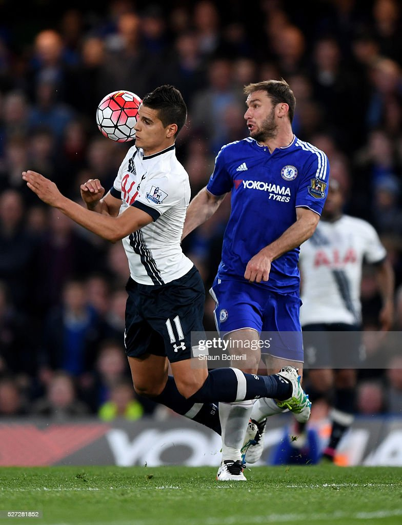 Erik Lamela of Tottenham Hotspur and Branislav Ivanovic of Chelsea compete for the ball during the Barclays Premier League match between Chelsea and Tottenham Hotspur at Stamford Bridge on May 02, 2016 in London, England.jd