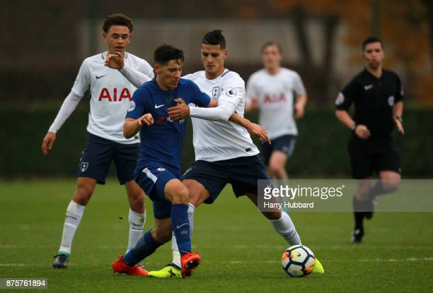Erik Lamela of Tottenham Hotspur and Ruben Sammut of Chelsea in action during a Premier League 2 match between Tottenham Hotspur and Chelsea at...