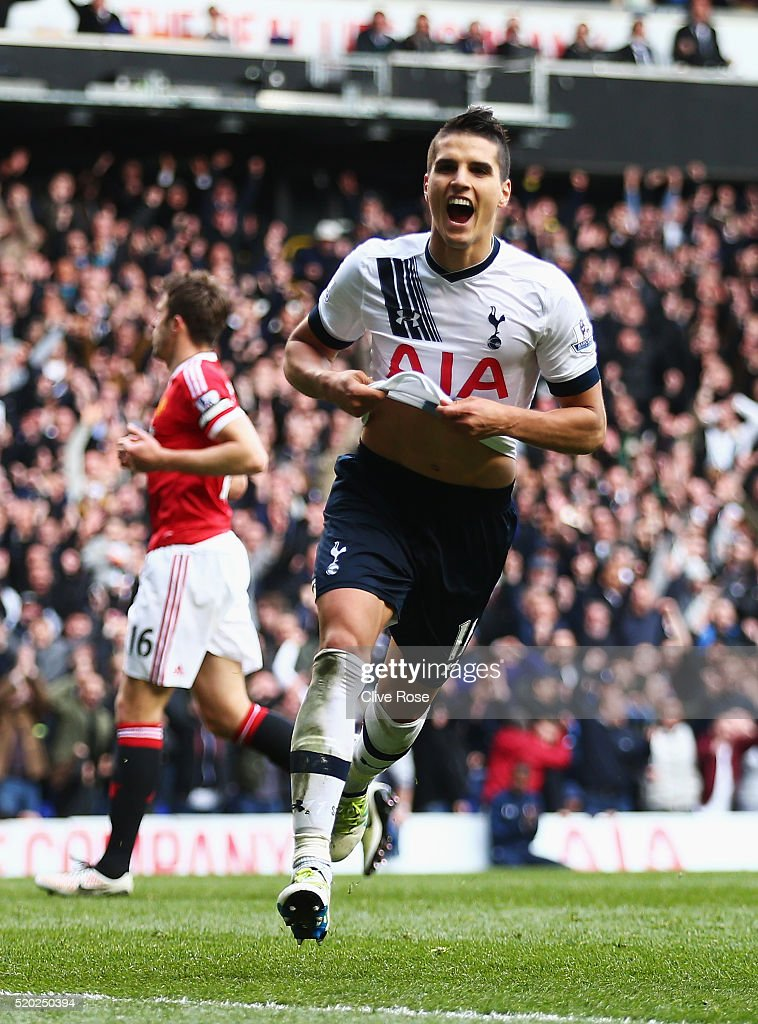 <a gi-track='captionPersonalityLinkClicked' href=/galleries/search?phrase=Erik+Lamela&family=editorial&specificpeople=7198648 ng-click='$event.stopPropagation()'>Erik Lamela</a> of Tottenham Hotspur celebrates as he scores their third goal during the Barclays Premier League match between Tottenham Hotspur and Manchester United at White Hart Lane on April 10, 2016 in London, England.