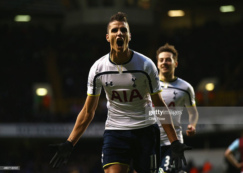 <a gi-track='captionPersonalityLinkClicked' href=/galleries/search?phrase=Erik+Lamela&family=editorial&specificpeople=7198648 ng-click='$event.stopPropagation()'>Erik Lamela</a> of Tottenham Hotspur celebrates scoring his goal during the Barclays Premier League match between Tottenham Hotspur and Burnley at White Hart Lane on December 20, 2014 in London, England.