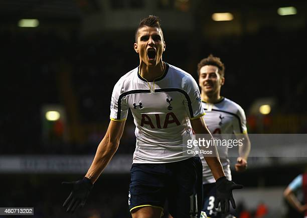 Erik Lamela of Tottenham Hotspur celebrates scoring his goal during the Barclays Premier League match between Tottenham Hotspur and Burnley at White...