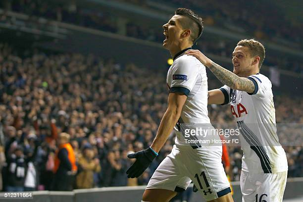 Erik Lamela of Tottenham Hotspur celebrates scoring his team's second goal with his team mate Kieran Trippier during the UEFA Europa League round of...