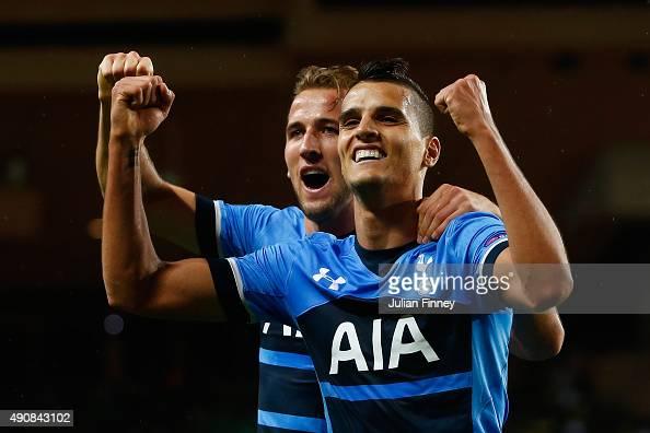 Erik Lamela of Tottenham Hotspur celebrates scoring the opening goal with Harry Kane of Tottenham Hotspur during the UEFA Europa League group J match...